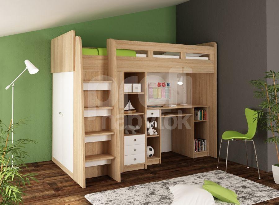 325907cf3c85a Praktická poschodová posteľ UNIT sonoma/biela | E-shop | Nábytok ...